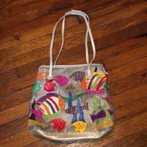 Sharif vintage purse gold leather fish bag USA